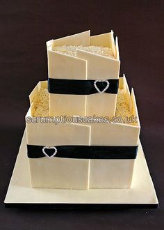 White Chocolate Panels Wedding Cake