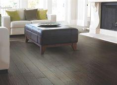 "Shaw Floors Ironsmith Hickory Wheelwright 5"". Handscraped Engineered Hickory hardwood floor. Dark floor"
