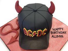 AC/DC baseball cap cake