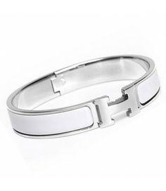 Hermes White Enamel Clic H Narrow Bangle Bracelet Gold Silver