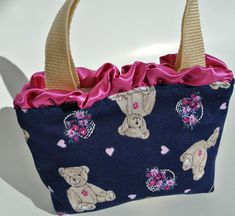 Childrens Purse , Young Girl's Purse , Navy Fuchsia , Teddy Bears , Flower Basket , Girl Accessories , Small Childs Present