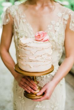 Bride holding wedding cake on Opulent Treasures Antique Gold Simply Cake Stand ~Jane Austin inspired wedding spring styled shoot