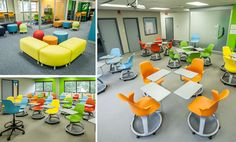 The McVey Innovation Learning Center is a one-of-a-kind high-school facility that lets students select what they want to learn while providing a learning Modern Classroom, Classroom Design, Student Desks, Study Photos, School Furniture, Learning Environments, Learning Centers, School Projects, Case Study