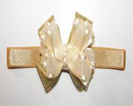 Infant Ivory Gold Lame Bow Headband