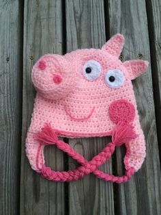 Peppa Pig Hat by instantlyadorable on Etsy