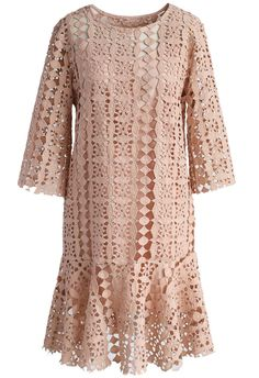 Crochet Perfection Shift Dress in Pastel Pink- New Arrivals - Retro, Indie and Unique Fashion