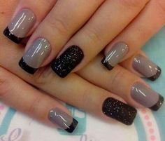 Taupe with Black French Tips and Black Textured Accent Finger
