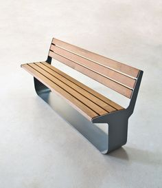 "takeovertime:  LO-7272"" L-SERIES BENCH, W/O ARMS Steel : galvanized / powdercoatWood : ipe / oak  Design : Geoffrey Lilge"