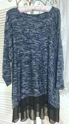 bd2de8292aa NEW Plus Size 3X Blue Black Space Dye Cupio Sheer Tunic Top Sweater  78   fashion  clothing  shoes  accessories  womensclothing  sweaters (ebay link)