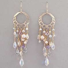 Holly Yashi Jamila Bridal Earrings - Gold. Fit for an ancient Egyptian queen, these earrings feature ornate feminine details that create a soft cascade of texture and color. Niobium, Keishi pearls, Swarovski crystal, gold over-lay ear wires.