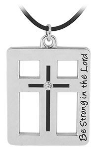 Be Strong in the Lord Cross Necklace at Hope Faith Love