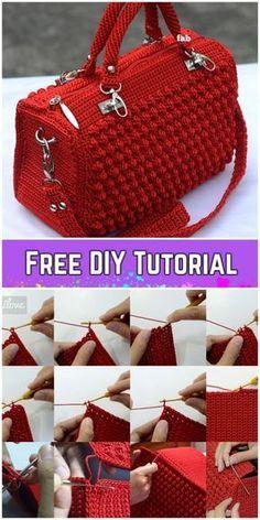 Bobble Stitch Handbag Crochet Pattern with Video Tutorial # Instructions . - - Bobble Stitch Handbag Crochet Pattern with Video Tutorial # stitch Crochet Bag Tutorials, Crochet Purse Patterns, Crochet Motifs, Crochet Crafts, Knitting Patterns, Tutorial Crochet, Diy Crochet, Handbag Patterns, Crochet Ideas