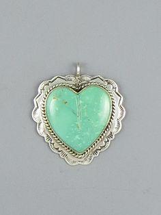 Kingman Turquoise Heart Pendant - Reversible (PD3733)