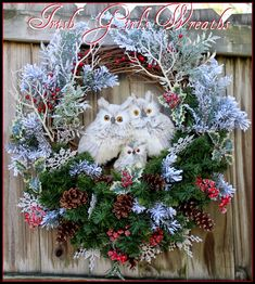 Custom Gray Owl Family Winter Woodland Christmas Wreath, by Irish Girl's Wreaths