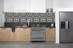 KitchenWalls backsplash wallpaper CEMENT TILE black white