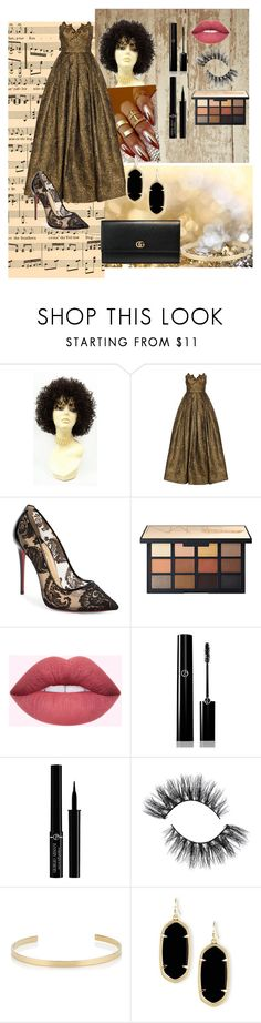 """""""Gold Vibe"""" by caroonie ❤ liked on Polyvore featuring Andrew Gn, Christian Louboutin, Giorgio Armani, Jennifer Fisher, Kendra Scott and Gucci"""