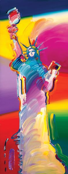 "Rainbow ""Statue of Liberty"" by Peter Max - Park West Gallery"