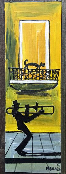 Yellow jazz painting. Original acrylic on canvas from M.Sani's series The Balcony #Jazz #Cat