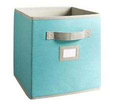 Martha Stewart storage bins for the white cubes. This is also the color of the shelves Ryan made.