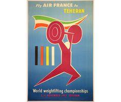 Vintage poster Weight-lifting World championship Iran 1957