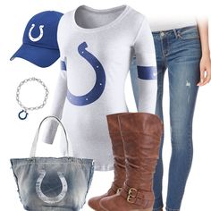 Style inspiration for the female Indianapolis Colts Fan. Check out the football fashion and style ideas, and get Indianapolis Colts Fan cute. Cincinnati Reds Baseball, Indianapolis Colts, Colts Cheerleaders, Denver Broncos, Pittsburgh Steelers, Dallas Cowboys, Football Fashion, Washington Redskins, Oakland Raiders