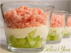 Verrines Cucumber, Laughing Cow® and Ham - Délice-Yeux, the gourmet universe of Marine - cuisine - Salad Recipes Healthy Vegetarian Appetizers, Appetizer Recipes, Snack Recipes, Cooking Recipes, Best Christmas Appetizers, Healthy Christmas Recipes, Tapas, Food Test, Quick Snacks