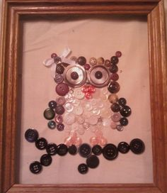 Button Owl on Canvas