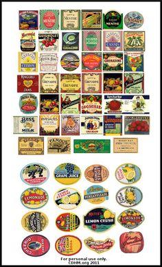 Food labels vintage