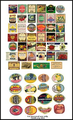 Food labels vintage