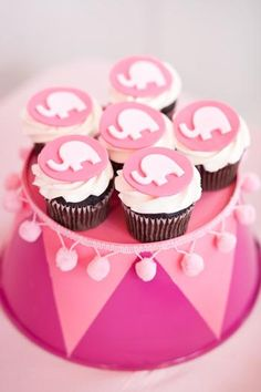 Pink Elephant Baby Shower Cupcakes