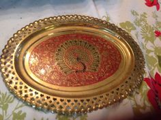 Brass decorative wall hanging tray Peacock by Laysdaysgoneby