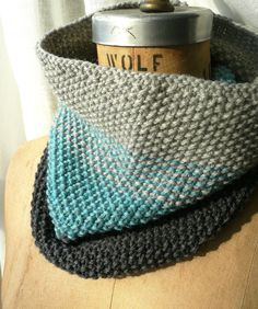 Nothing beats a cozy cowl on a cold day. By olivebrown.  ombré cowl HAND knit.