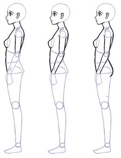 How To Draw draw-anime-side-view-body-proportions. Person Drawing, Human Drawing, Manga Drawing, Drawing People, Figure Drawing, Body Sketches, Drawing Sketches, Sketching, Drawing Techniques