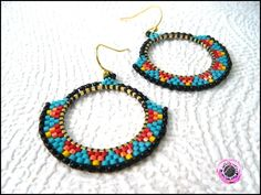 boucles d'oreilles créoles en perles de rocailles esprit navajo : Boucles d'oreille par beadibulle-creations