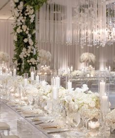 Be creative when decorating your Big day. Take a look at addorable white wedding decoration ideas in our gallery! Extravagant Wedding Decor, Elegant Wedding Themes, Silver Wedding Decorations, Luxury Wedding Decor, Wedding Centerpieces, Wedding Ideas, Wedding Pics, Reception Decorations, Wedding Details