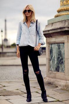 J Brand jeans, Madewell chambray shirt (similar here), Prada sunglasses, Toga Pulla ankle boots, Chanel Boy bag,