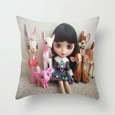snowwhite Throw Pillow by Vintage  Cuteness - $20.00 #blythe #doll #deer #fawn #kitsch #pink #elephant #childrens #kawaii #girly #decor #pillow