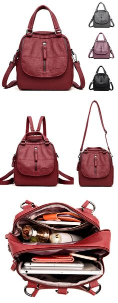 【US$38.15】Women High-end Multifunction Soft PU Leather Handbag Double Layer Large Capacity Backpack #multifunction #backpacks #red #color #style