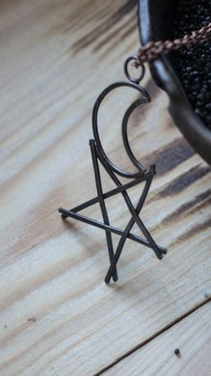 Pentagram and moon copper pendant, occult magic symbol. wire wrap star pendant.  minimalist wiccan amulet necklace. Weaving oto pentacle jewelry.