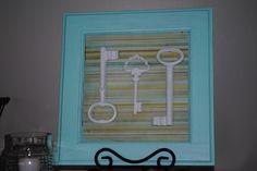 DIY artwork; old keys in frame