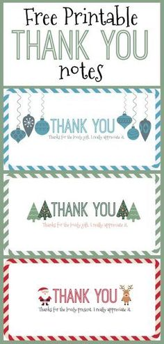 Free Printable Christmas Thank You Notes - Here Come the Girls