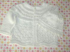 Grannyknitter's version of a free Eyelet Baby Cardigan pattern by Jennifer Little. Trefoil allover eyelet. Pattern (pdf download): http://lookingglassknits.blogspot.com.ar/2007/06/eyelet-baby-cardigan-pattern.html ; Photo: http://www.knittingparadise.com/t-69929-1.html