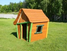 The Lars Laj #Woodhouse is a real command center in every #playground. Made entirely of #wooden planks it is fully #natural and environmentally friendly.    #eco #placzabaw #woodenhouse #domekdrewniany #larslaj Dog Houses, Play Houses, Crooked House, Wooden Playhouse, Wooden House, House In The Woods, Playground, Bird, Planks