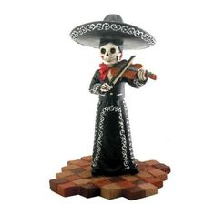 Black Violin Mariachi Band. www.teeliesfairygarden.com . . . This violinist is ready to perform and play music for your fairies! He's a perfect guest for your fairy garden Halloween party. He is part of the known black mariachi band. #fairymariachi