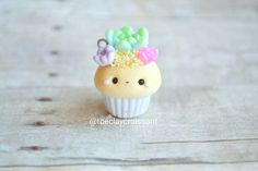 Kawaii Succulent Cupcake Charm Polymer Clay by TheClayCroissant