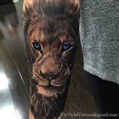 Did this lion tattoo yesterday night on a client from Australia. Thank you Hayley, you sat like a ...