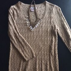 SWEATER Sweater with cable twist design with silver specs thru sweater v neck style very dressy or casual it's perfect with Jeans or Skirts FOREVER 21 Sweaters