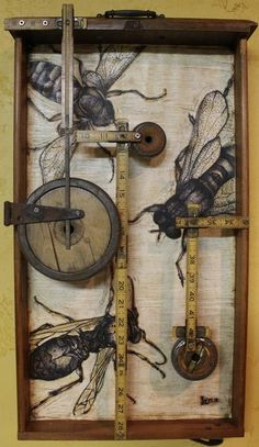 "inspirational subject matter I love bees ""Home Builders Association"" by Kathy Moore, a Bee assemblage from her Junk Drawer Series Encaustic, found objects, and ink, 24 x 14 x 3 Found Object Art, Found Art, Art Populaire, Insect Art, Encaustic Art, Assemblage Art, Recycled Art, Box Art, Art Boxes"