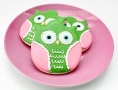 owl cookies - made with a tulip cookie cutter