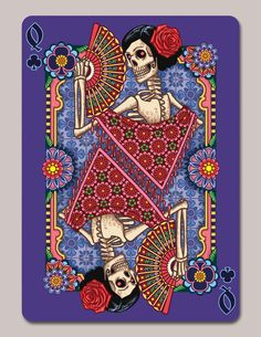 Dia de los Muertos Second Edition Playing Cards by Edgy Brothers.  https://www.kickstarter.com/projects/213168680/dia-de-los-muertos-second-edition-playing-cards